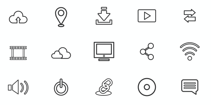 Icons of various types of technological distractions