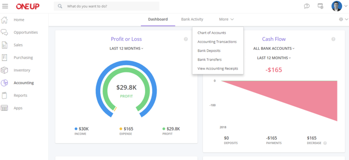 OneUp Accounting interface