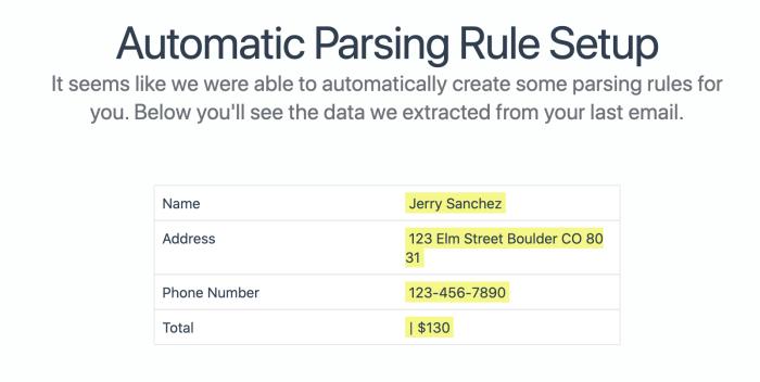 Pantalla de configuración de reglas del analizador de correo