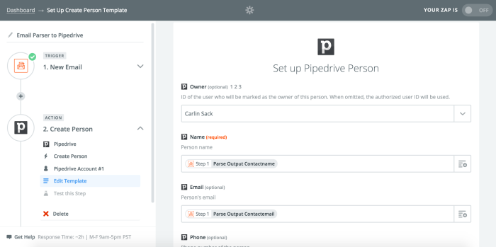 Setting up a Zap with Pipedrive and Email Parser