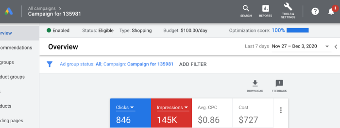 A look at our 100% optimized Google Smart Shopping retargeting campaign