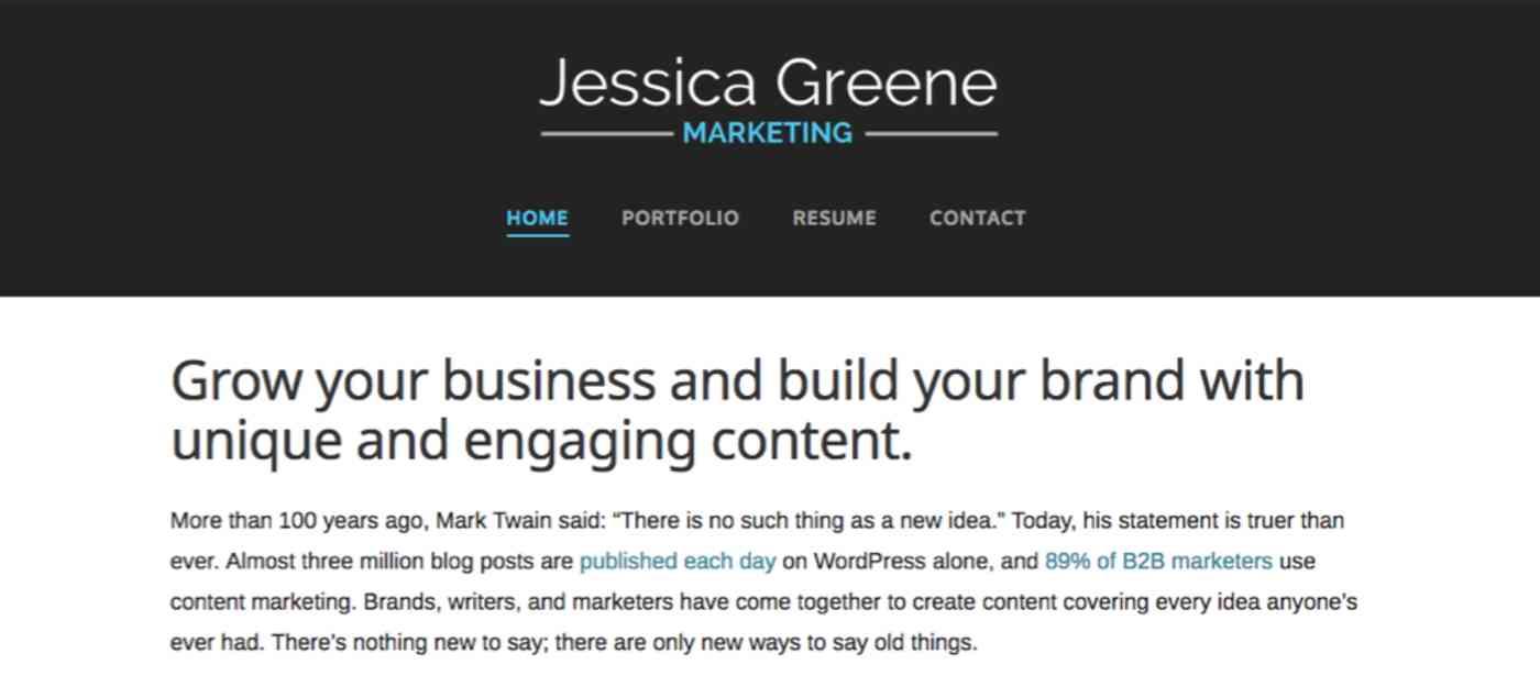 WordPress resume screenshot