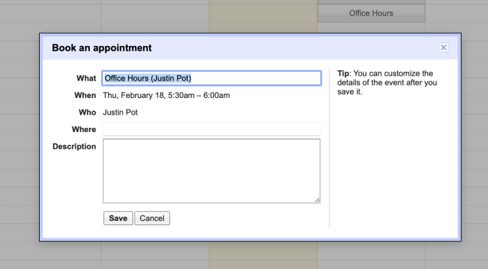 Book appointment with time slot in Google Calendar