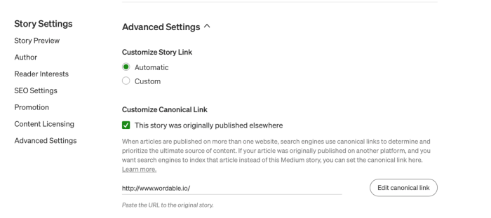 Showing the canonical link option on Medium