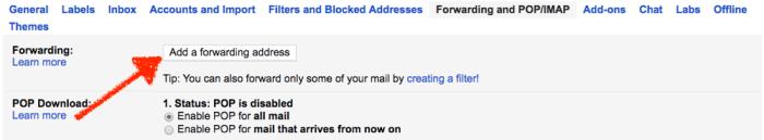 Add forwarding address to Gmail