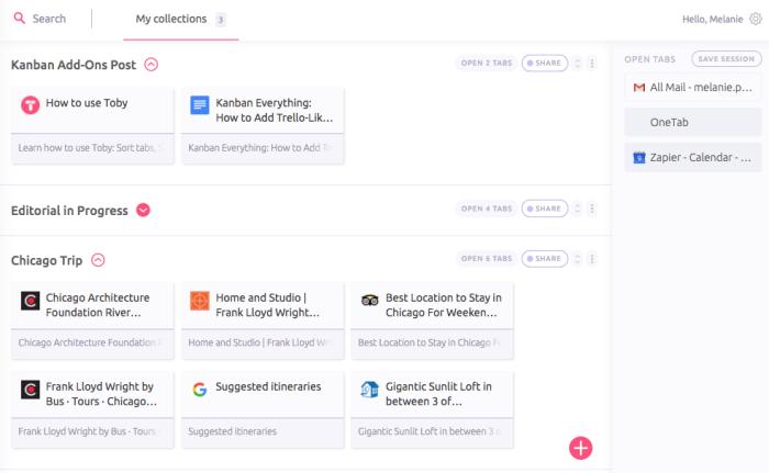 Toby Chrome extension screenshot