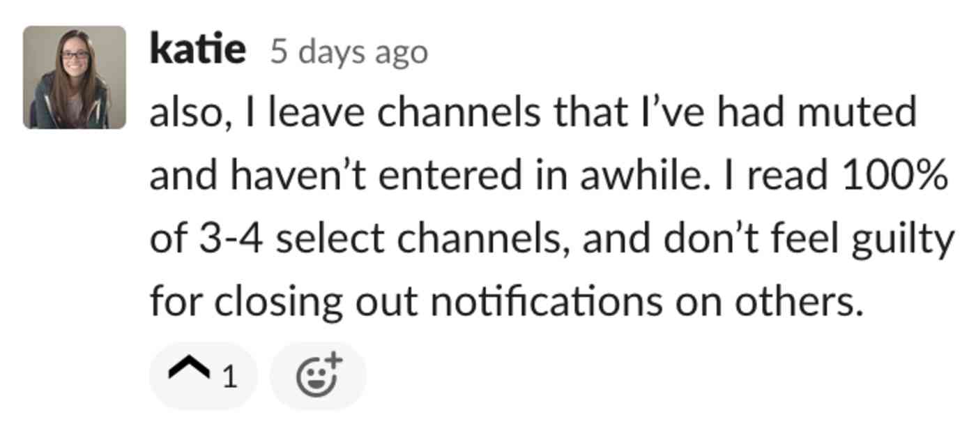 Katie: also, I leave channels that I've had muted and haven't entered in awhile. I read 100% of 3-4 select channels, and don't feel guilty for closing out notifications on others.