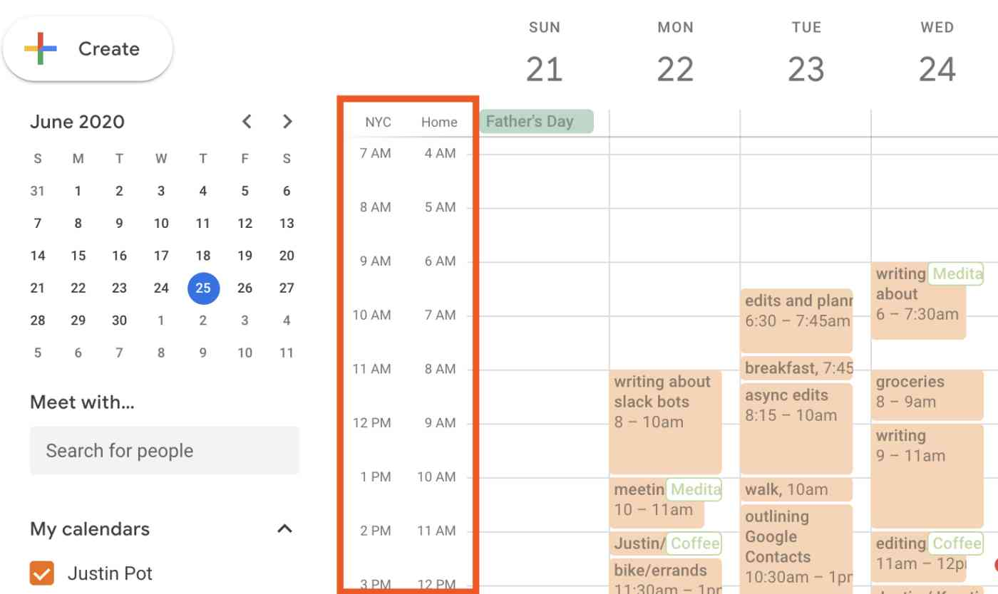 Two time zones appear to the left of a week view in Google Calendar