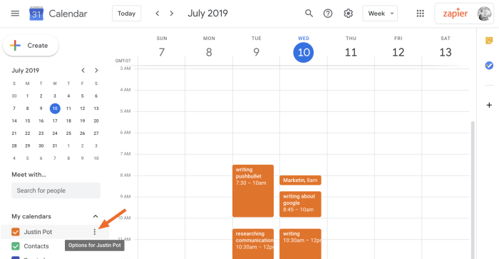 Coloca el cursor sobre cualquier calendario para mostrar el botón de opciones