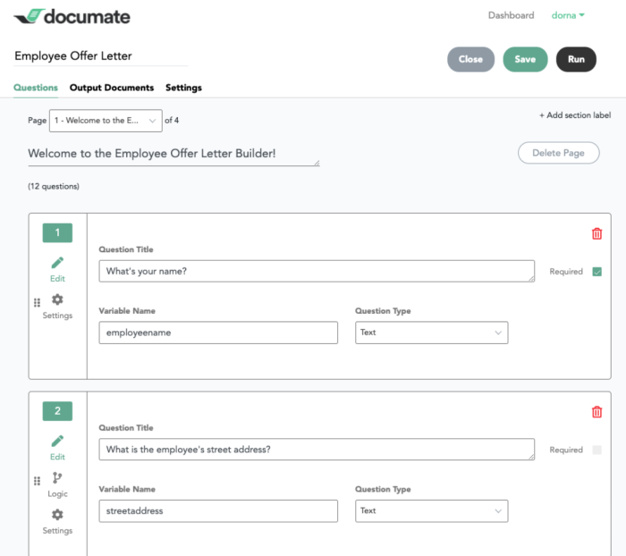 """A screenshot of Documate's interface showing questions for an employee offer letter builder including """"What's your name?"""" and """"What is the employee's street address?"""""""