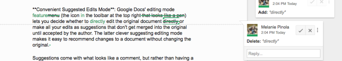 Color-coded Google Doc suggested edits