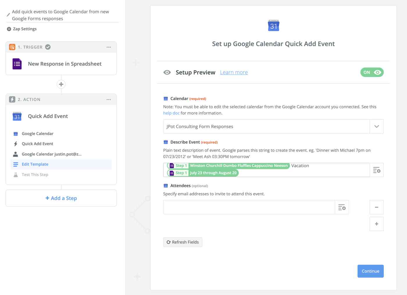 Set up your Google Calendar template