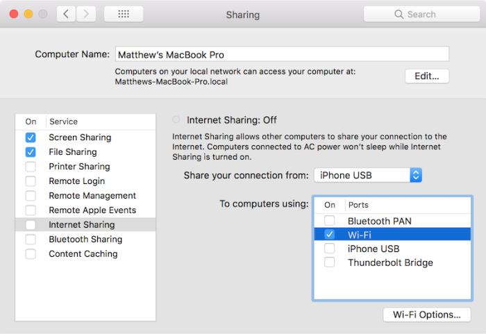 macOS Internet Sharing