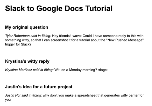 """A screenshot of a document, reading """"Slack to Google Docs Tutorial"""" followed by text pushed from Slack, including an original question and a series of replies."""