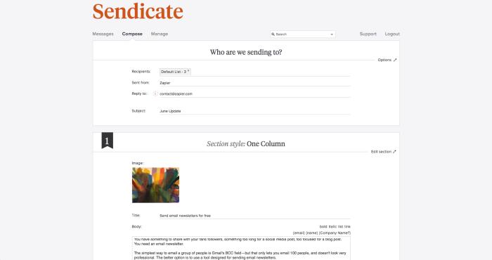 Sendicate screenshot