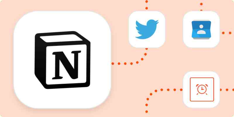 The logo for Notion in a large white square with the logos for Twitter, Google Contacts, and Schedule in smaller white squares. All are connected with dotted orange lines.