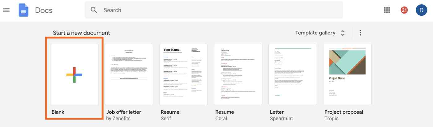 Create new blank document