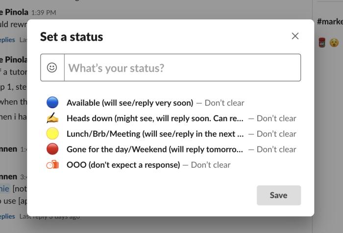 Slack status box