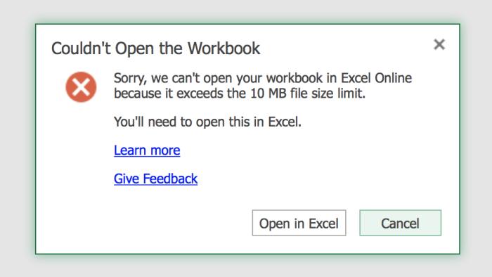 Excel Online file limitation