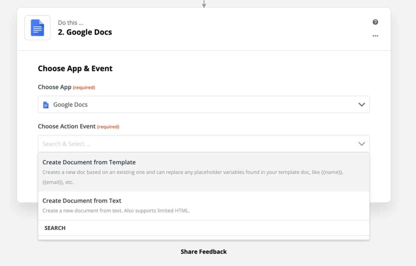 Create Google Docs Document from Template in Zapier