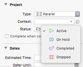OmniFocus projects status