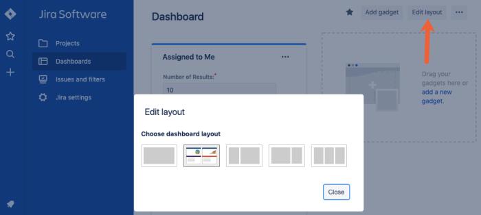 adjust Jira dashboard layout