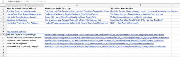 google sheets feed reader