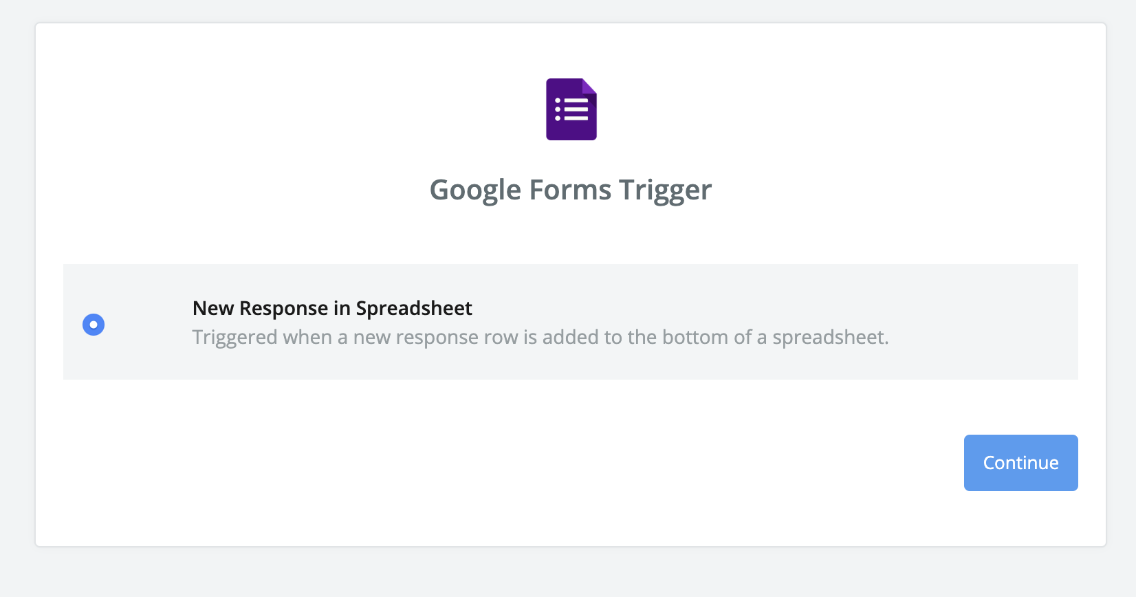 The New Response trigger in Google Sheets