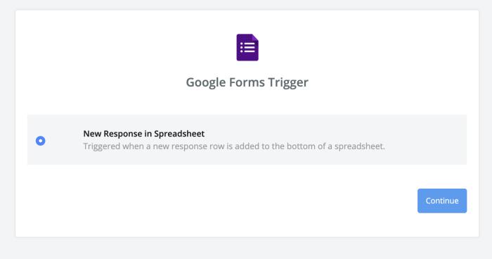 El activador de nueva respuesta en Hojas de cálculo de Google
