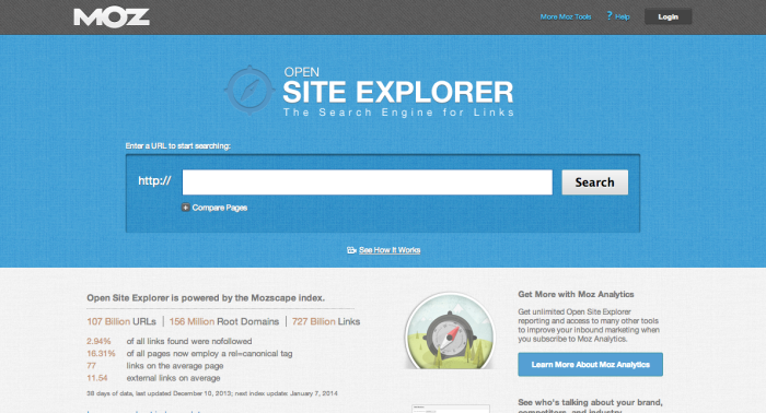 Open Site Explorer is a tool from Moz SEO that gives you quick access to social sharing and backlink data.