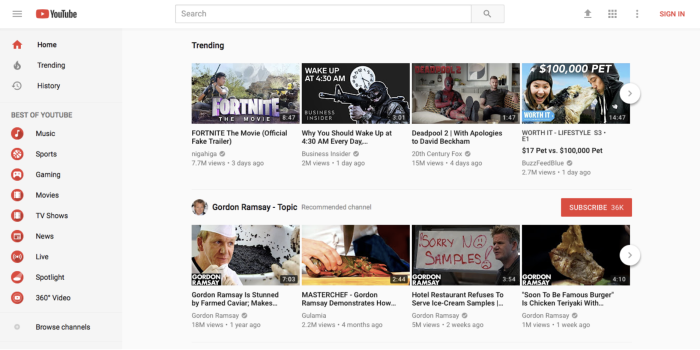 YouTube front page