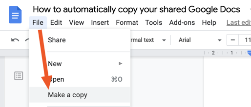 Clicking File > Make a copy in Google Docs