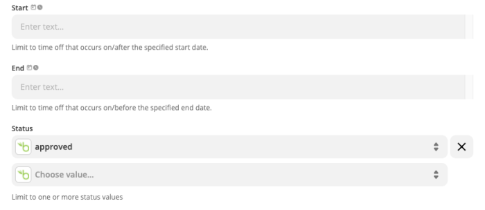 """The Zap setup, showing """"approved"""" selected below the Status field."""