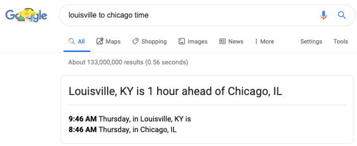 time converter in Google Search