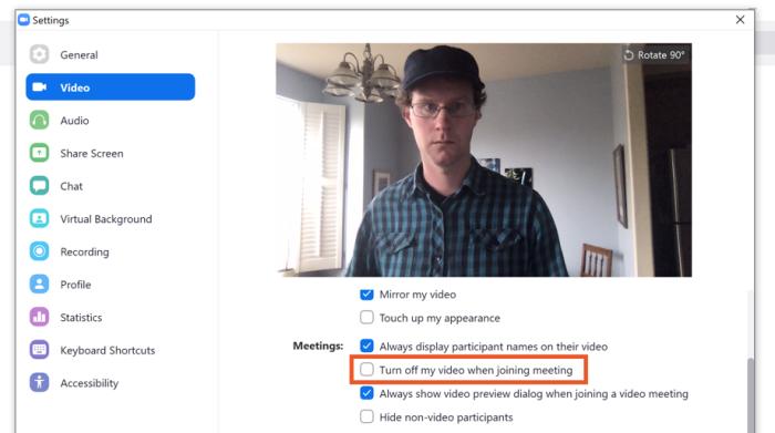 Desactivar el video de forma predeterminada en Zoom, incluso mi sombrero favorito