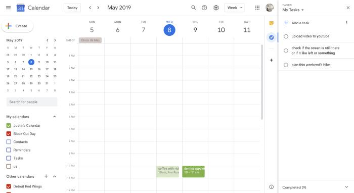Google Tasks sidebar in Google Calendar