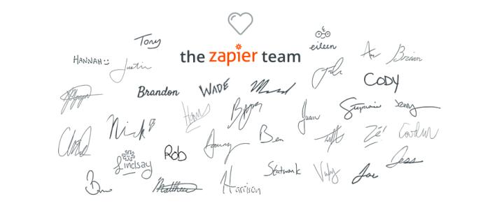Zapier team member signatures