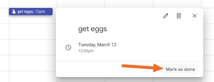 Google Calendar reminders done