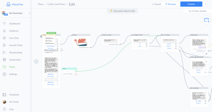 ManyChat Flow Builder interface