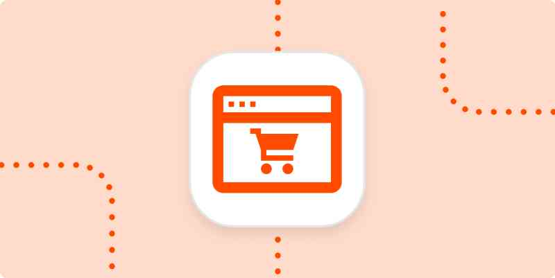 An icon showing a stylized webpage with a shopping cart in the center of it.