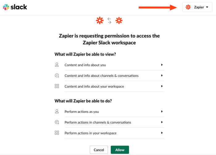 A screenshot of the permissions pop-up. Zapier is requesting permission to access a Slack workspace. An arrow highlights the workspace picker in the top-right corner.