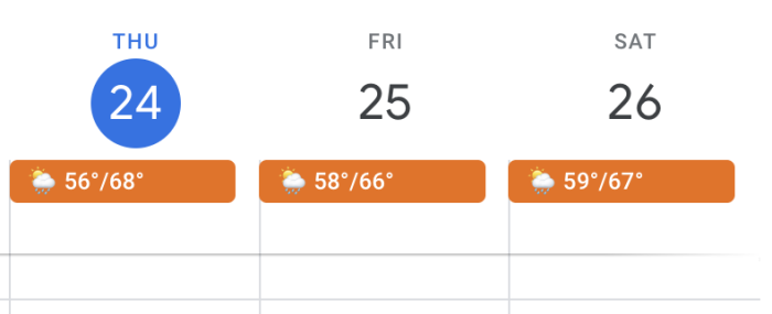 Weather in Google Calendar