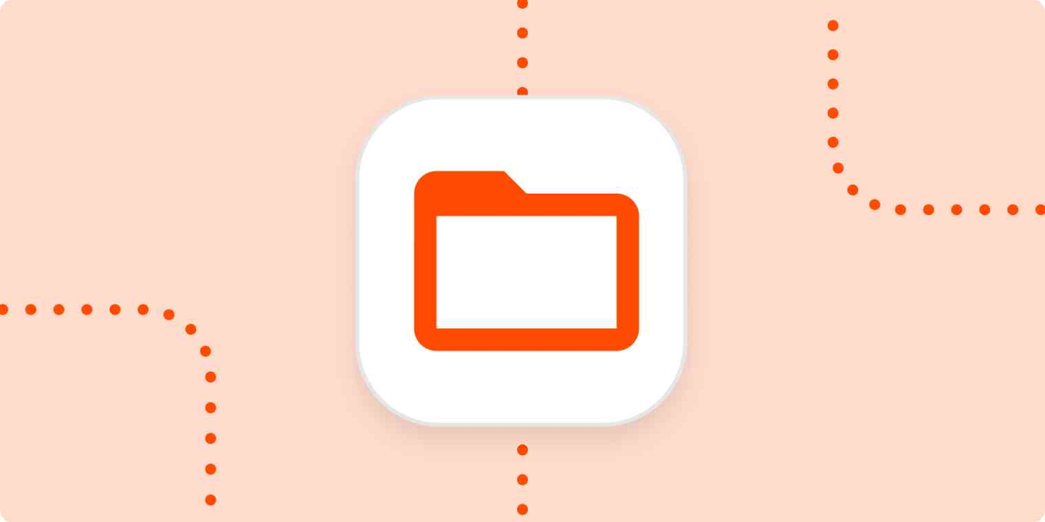 A file icon in a white square on a light orange background