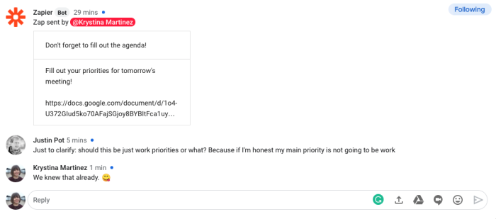 A screenshot of a reminder in Google Hangouts Chat. The message includes text encouraging people to fill out a meeting agenda ahead of time.