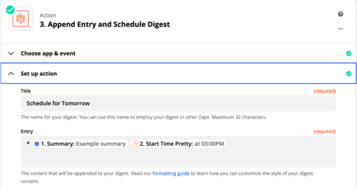 Zap action set-up page: Append entry and schedule digest