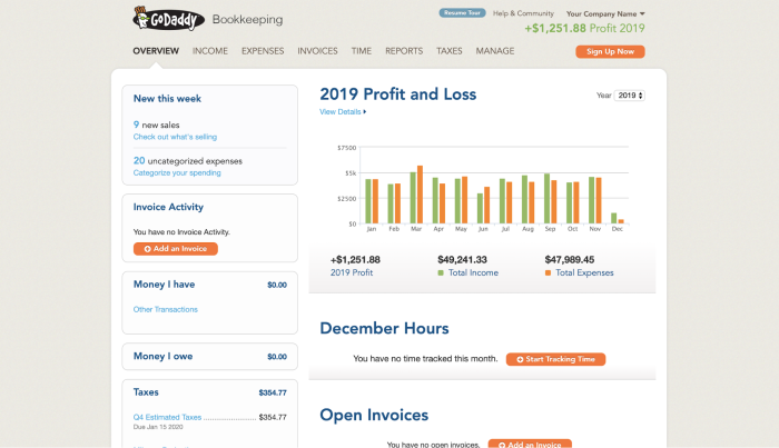 GoDaddy Online Bookkeeping interface