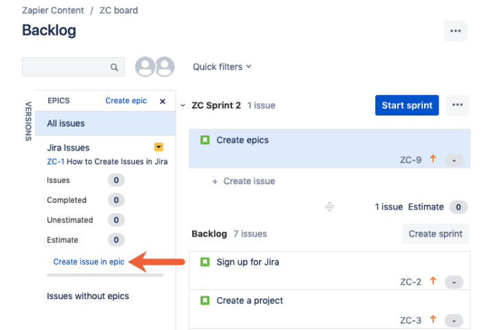 create issue within epic in Jira