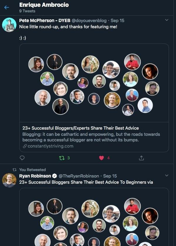 A screenshot from Twitter showing contributors sharing the link to the finished blog post.