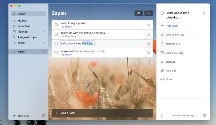 A screenshot of the Microsoft To Do Mac app