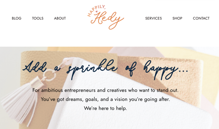 The copy on Hedy's website
